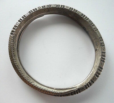Old Coiled Coin Silver Hilltribe Bracelet Laos SE Asia