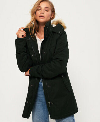 New Womens Superdry Model Microfibre Jacket Ivy Green