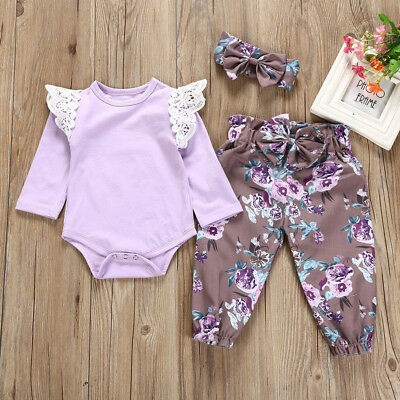 3PCS Toddler Baby Girl Lace Romper Jumpsuit Floral Pants Headbands Outfits 3-24M