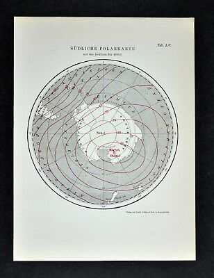 1894 Muller South Pole Map Isoclinic Lines Magnetic Declination Antarctica Ocean