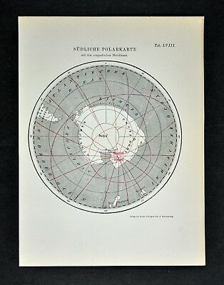1894 Muller South Pole Map Isoclinic Lines Magnetic Meridians Antarctica Ocean