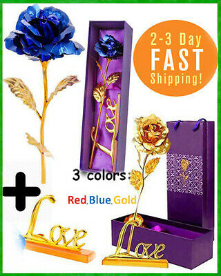 Luxury Gold Rose Flower Plated Dipped In 24K For Valentine's Day Birthday Gifts