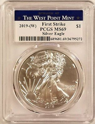 2019-W Silver American Eagle 1oz .999 Fine Silver PCGS MS69 - First Strike