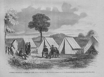 General Stonewall Jackson In Camp Soldiers Officers Tents Civil War 1863 History