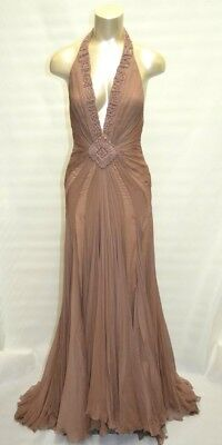 7d88e8a9a423 Max Azria ATELIER Gown SILK Embellished RED CARPET DRESS Halter DEEP V-NECK