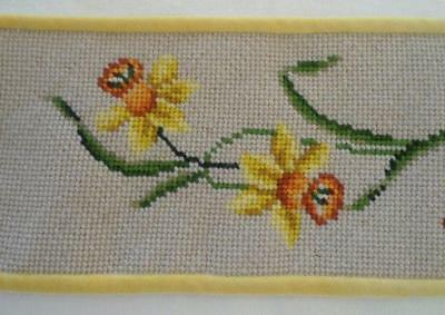 Small Vintage Wool Bell Pull Yellow Hand Embroidered Daffodils Velvet Back 24""