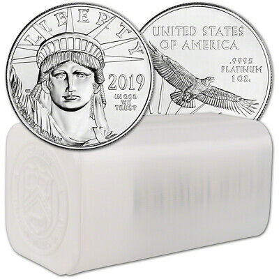 2019 American Platinum Eagle 1 oz $100 - 1 Roll Twenty 20 BU Coins in Mint Tube