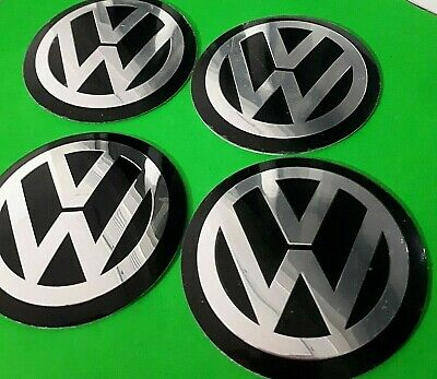 4 x 56mm VW Black Wheel Centrecap Emblems Overlays/ Stickers Aluminium 3D Logo