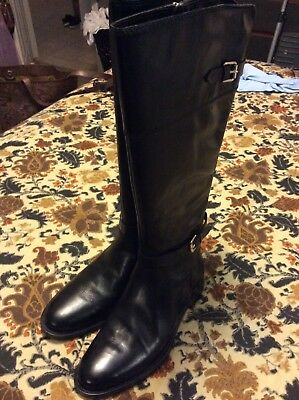 889a0d3b1f77 Enzo Angiolini New Black Leather Zip Wide Calf Riding Boots Womens Size 8.5