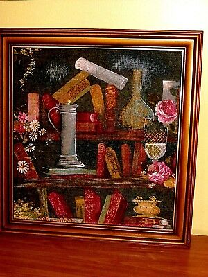 Vintage 3D Raised Fabric Relief Tapestry Art: Alchemy Lab Books Roses Still Life