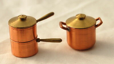 Vtg Dollhouse Miniature Kitchen Copper Brass Pot Pan Set Double Boiler Artisan
