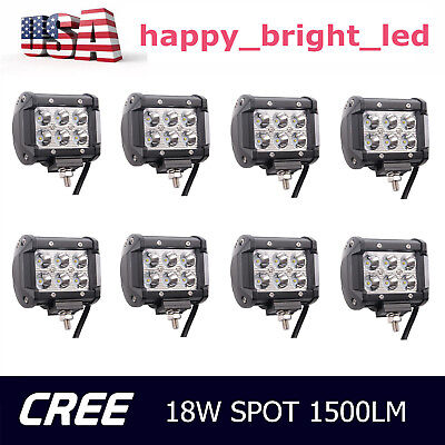 8X 4inch 18W CREE LED Work Light Pod Spot 4WD 12V24V Truck Offroad Driving Lamp