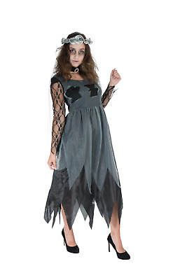 Corpse Bride Costume Womens Ladies Zombie Scary Halloween Fancy Dress Outfit