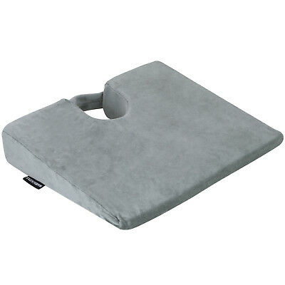 Grey Wedge Memory Foam Lower Seat Cushion Posture Support Car/Home/Office Chair