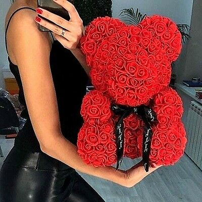 Red  Bear Rose Flower Teddy In Box Gifts For Birthday Wedding  Valentine 2019