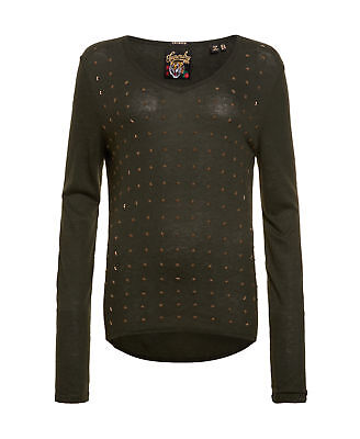 New Womens Superdry Factory Second Star Long Sleeve Top Khaki Marl