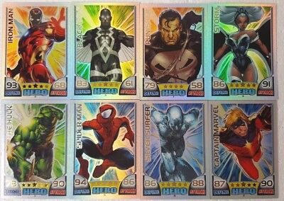 MARVEL HERO ATTAX Series 1 RAINBOW Foil Card Set   ( 16 ) UK   2011  Topps