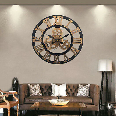 Traditional Vintage Style Round Iron Wall Clock Roman Numerals Home Decor Gift