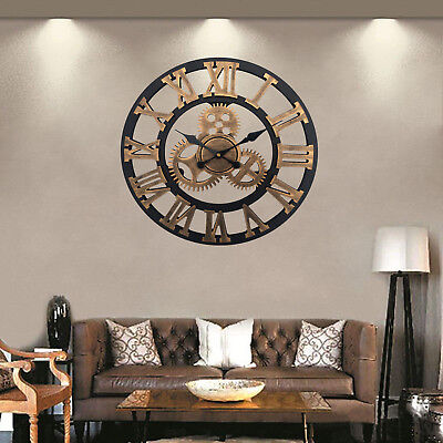 Traditional Wall Clock Vintage Style Round Iron Roman Numerals Home Decor Gift