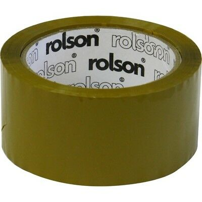 Brown Parcel Tape 50mm - Rolson 60388 Packing Moving Shipping 50mmx 66m