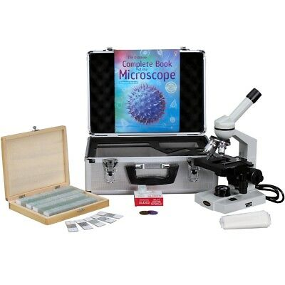 AmScope 40X-2000X Advanced Monocular Microscope w/ 3D-Stage Book Slides & Carryi