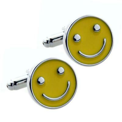 HAPPY FACE CUFFLINKS Smile Smiley Yellow Enamel NEW w GIFT BAG Wedding Groom