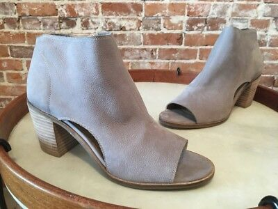 Lucky Brand Kasima Driftwood Grey Leather Peep-toe Heeled Bootie 9 39 New