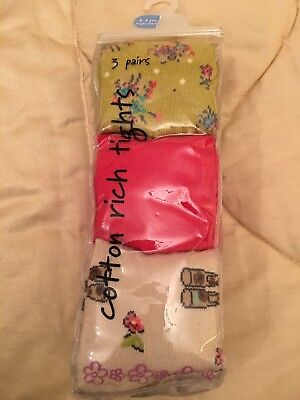Bnwt NEXT Girls Tights 3 Pack Red,Welly Boot Print,floral 3-4 Cotton Fantastic!