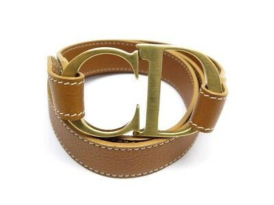 Ceinture Christian Dior Logo Cd T 95 En Cuir Marron Metal Dore Leather Belt  380€ 906c7b45299