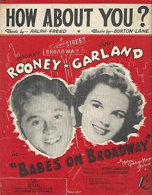 """""""Babes on Broadway"""" JUDY GARLAND and MICKEY ROONEY 1941 London Sheet Music"""