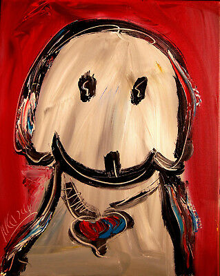 DOG Stylish Animal Figure Abstract Wall Art Oil Painting Canvas Painted New HAS8
