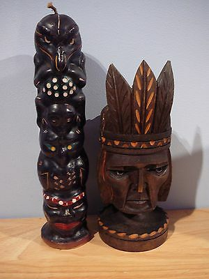 Vintage Hand Carved Wood Indian Aztec Head & Totem Pole Candle