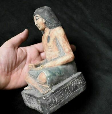 ANCIENT EGYPTIAN ANTIQUE great Seated Squatting Scribe Statue Egypt 1500 BC