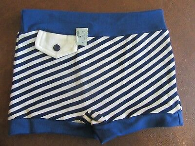 Vintage 1970s  Nylon Boys Swim Trunks Shorts Medium 12 Blue Stripe NOS Unused