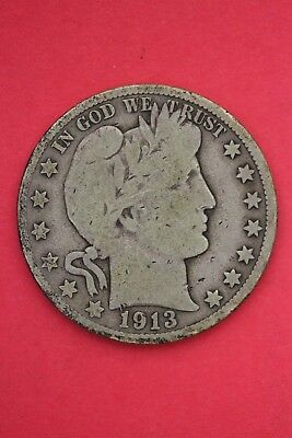 1913 D Barber Liberty Half Dollar Exact Coin Pictured Flat Rate Shipping OCE 425