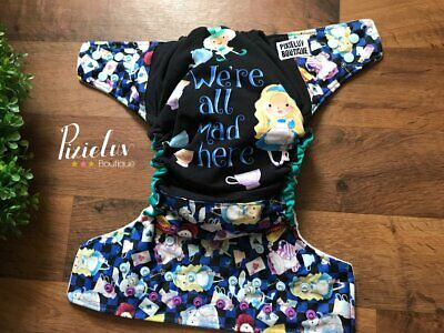 We Are All Mad Here, Alice in Wonderland Inspired Embroidered One Size Cloth Dia