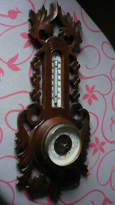 Antique, Hand Carved Black Forest Wall Barometer.thermometre
