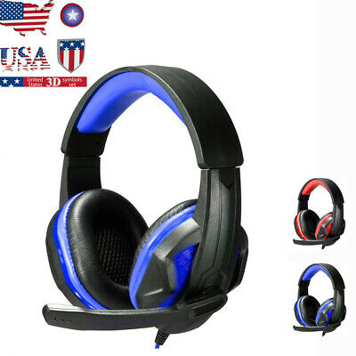 Stereo Gaming Headset Headband Headphone USB 3.5mm LED With Mic for PC