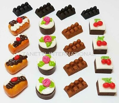 20 Dollhouse Miniature Mixed Chocolate Food Set * Doll Mini Cakes Candy Dessert