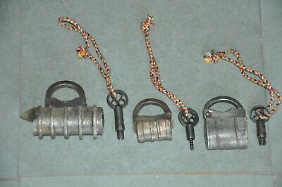 3 Pc Old Iron Handcrafted Solid Unique Shape Screw Padlocks , Nice Patina