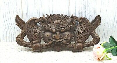 Vintage Balinese wood carving of guardian spirit, carved wood dragon wall plaque