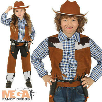 Cowboy Kids Fancy Dress Wild Western Cowgirl Boys Girls World Book Day Costume