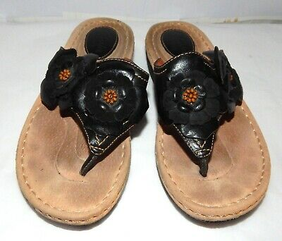 d57bf5ed64b9eb Clarks Artisan Sandals Flip Flops Black Leather Flowers Women s Sz 6M