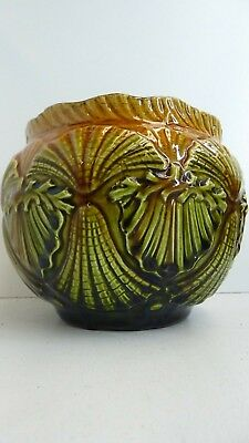Antique Victorian Majolica Pottery Embossed Shell Urn Pot Vase Ophir 4In #383494