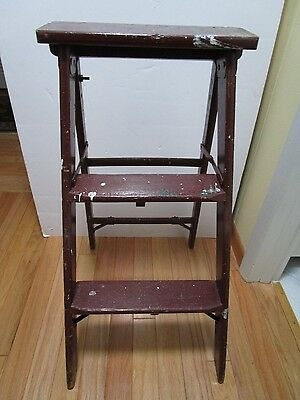 "Antique Burgundy Wood Ladder 3 Step Ladder Folding Display Chic Vintage 33.5"" H"