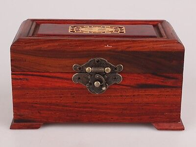 Vintage Chinese Wood Jewelry Box Decoration Collection Gift Lady Collec