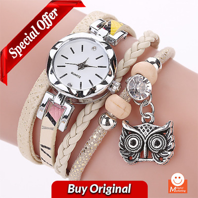New Fashion Women Girls watches Analog Quartz Owl Pendant Ladies Dress Bracelet