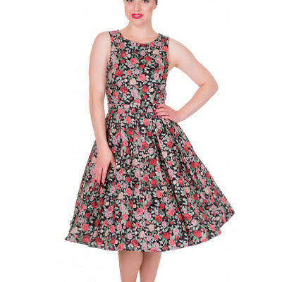 754f2ebf30 Dolly and Dotty ANNIE Retro 50s Dress Swing Black Floral Flowers All Sizes