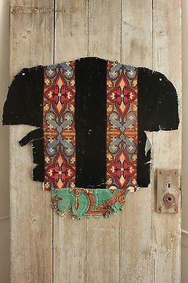Fabric Antique French Needlepoint Arts & Crafts Gothic black velvet chair cover
