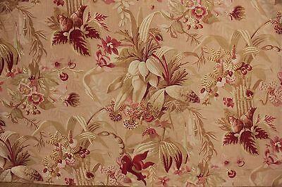 Fabric Antique French Orchid Deisgn sateen circa 1890 Botanical textile